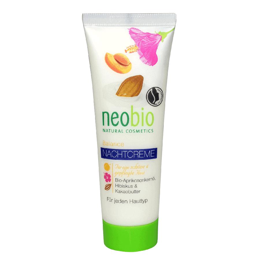 Neobio Éjszakai krém vegyes bőrre – bio sárgabarackmag olajjal, hibiszkusszal és bio kakaóvajjal