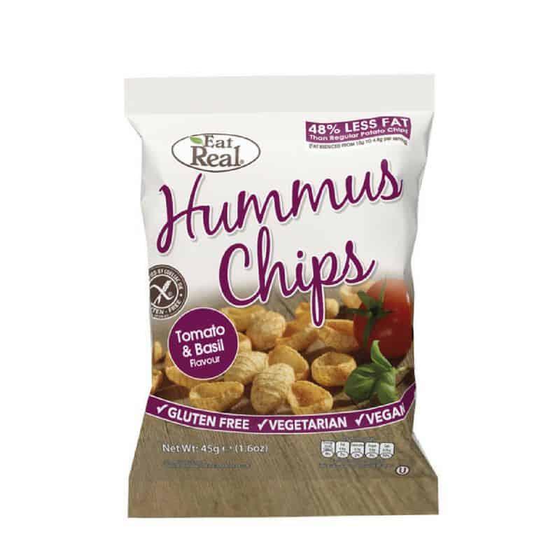 Eat Real Hummus-Csicseriborsó Chips paradicsom bazsalikom 45g