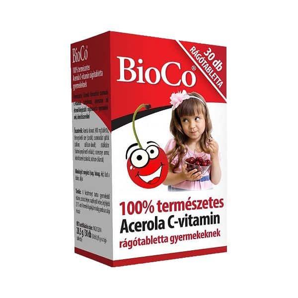 BioCo Acerola C-vitamin rágótabletta gyermekeknek 100% természetes 30db