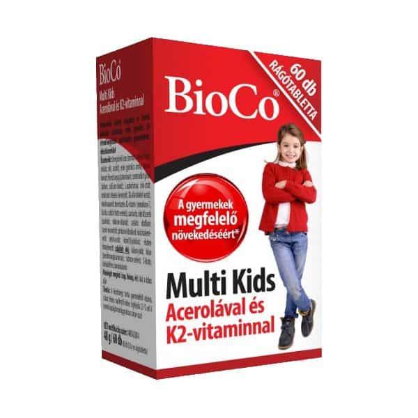BioCo Multi Kids Rágótabletta Acerolával és K2-vitaminnal 60db