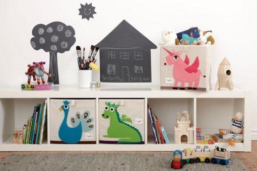 3 Sprouts tároló doboz vidám állatfigurákkal IKEA Kallax polcokkal kompatibilis